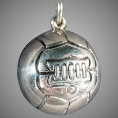 Vintage Sports Sterling Silver Charm - Soccer Ball, Early Ball Design