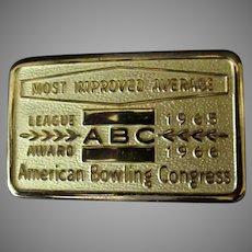 Vintage 1960's Belt Buckle – ABC Most Improved Average Bowling Award