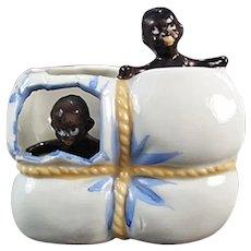 Vintage Black Memorabilia - Black Babies in Cotton Bale Porcelain Whimsey