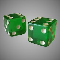 Vintage Green Lucite Dice – Apple Green Plastic – One Pair