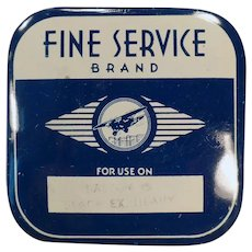 Vintage Fine Service Typewriter Ribbon Tin with an Airplane