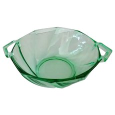Vintage Heisey 1252 Twist Pattern Nut or Candy Dish in Green Moongleam