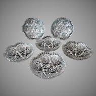 Vintage Roden Birks Signed CBP Canadian Brilliant Period Cut Glass – 6 Berry Bowls