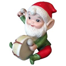 Vintage Christmas Elf with Toy Drum – Made in Taiwan 1980's Ceramic Decoration