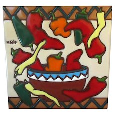 Colorful Art Tile with Southwestern Theme – Plentiful Chilies 1999 Earthtones
