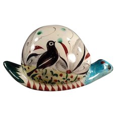 Vintage Mexican Pottery Snail - Large with Colorful Bird Design