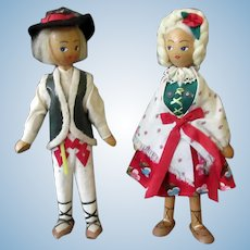 Vintage Wooden Boy & Girl – Wood Dolls in Original Ethnic Outfits