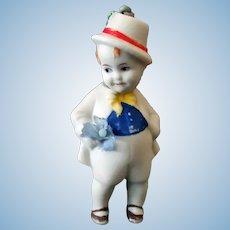 Small Vintage Bisque Nodder – Hand Painted German Boy Doll