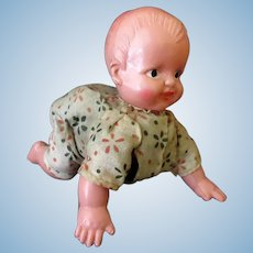 Vintage Celluloid Baby Doll with Crawling Action – Occupied Japan Celluloid Wind Up Doll