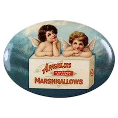 Vintage Celluloid Advertising Pocket Mirror - Angelus Marshmallows with  2 Angels