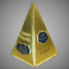 Vintage Golden Pyramid Phonograph Needle Tin - Unusual Old Tin