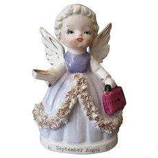 Vintage Porcelain Angel Figurine – September Birthday Girl in Lavender