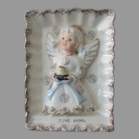 Vintage June Birthday Angel Wall Plaque – Angel with Birthday Cake - Ries