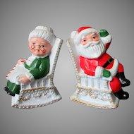 Vintage Santa & Mrs. Claus in Rocking Chairs Salt & Pepper Set