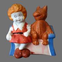 Vintage Orphan Annie Toothbrush Holder – Painted Bisque Orphan Annie & Sandy