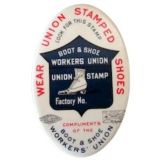 Vintage Celluloid Advertising Pocket Mirror - Shoe Worker's Union