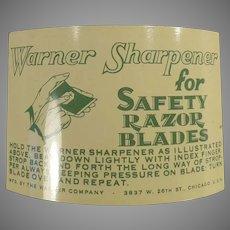 Vintage Warner 1-2-3 Razor Blade Sharpener for Safety Razor Blades with Packaging