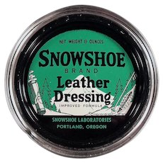 Vintage Snowshoe Brand Leather Dressing Tin from Portland Oregon