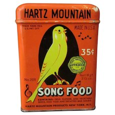 Vintage Hartz Song Food Tin with Yellow Bird Advertising Graphics