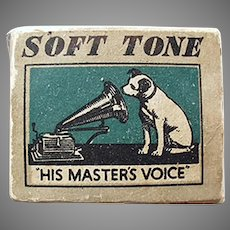 Vintage His Master's Voice Phonograph Needle Box - Gramophone Nipper Logo