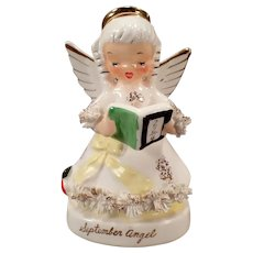 Vintage Napco Porcelain September Birthday Angel with Arithmetic Book