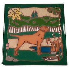 Vintage Masterworks Art Tile with Pointer Hunting Dog in Vivid Colors