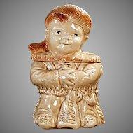 Vintage Brush Pottery Cookie Jar - Davy Crockett as a Child - 1956