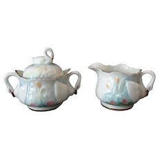 Vintage Cream and Sugar Set - Porcelain with Delicate Swan Handles