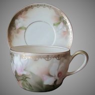 Vintage German Cup & Saucer - Reinhold Schlegelmilch Tillowitz R.S.Germany - Floral