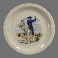 Vintage Hopalong Cassidy Dinner Plate - Blue Outfit