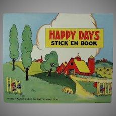 Child's Vintage Platt & Munk Happy Days Stickers Book - Unused 1940's