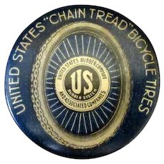 Vintage Celluloid Advertising Clicker - United States Rubber Bicycle Tire Advertising