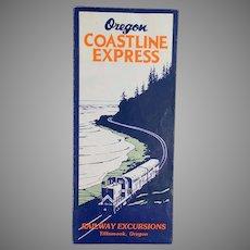 Vintage Portland Tillamook Oregon Coastline Express Rand McNally Map