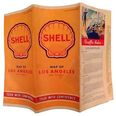 Vintage Shell Gasoline Advertising Road Map - Los Angeles 1940's