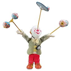 Vintage Juggling Clown Wind Up Japanese Tin and Composition W-up Toy