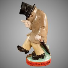 Vintage S&V Shafer and Vater Figural Flask Whiskey Nip - What a Night Drunk