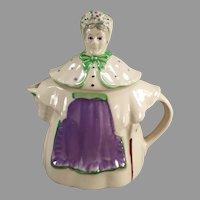 Vintage Shawnee Pottery Granny Ann Teapot, Lavender & Green - 1940's