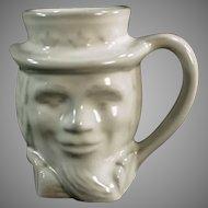 Vintage Frankoma Pottery - Uncle Sam Mug Coffee Cup - White Glaze