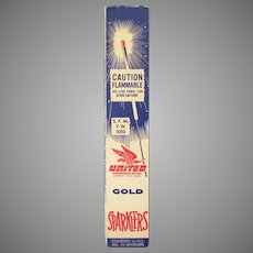 Vintage 4th of July Gold United Sparklers Box - 1960's