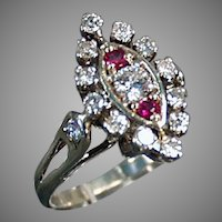 Ladies Vintage Diamond and Ruby Cocktail Ring in 14K White Gold