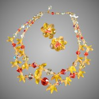 Vintage Costume Jewelry Choker Necklace & Earring Suite - Sunny Yellow and Orange