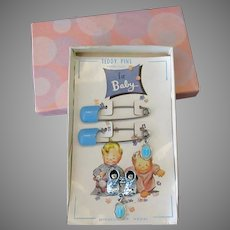 Vintage Baby Jewelry Gift – Teddy/Diaper Pins, Shoe Pin & Religious Medal w-Box