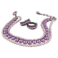 Vintage Costume Jewelry - Vibrant Purple Triple Strand Bead Choker and Earring Suite