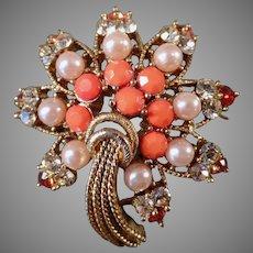 Vintage Costume Jewelry Starburst Brooch - Rhinestones, Faux Coral & Pearls