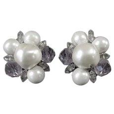 Vintage Laguna Costume Jewelry Earrings - Beaded Cluster Clip-Ons