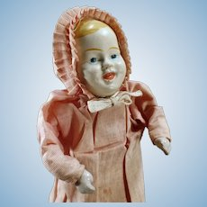 Vintage Mechanical Squeaker Doll - Painted Tin Head and Original Clothes