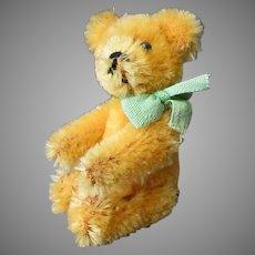 """Vintage Miniature Gold Mohair Bear - Little Plush Teddy Bear 3 1/2"""""""