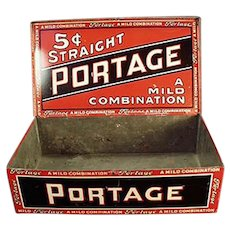 Vintage Portage Cigars Counter Display Tobacco Tin