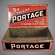 Vintage Portage Cigars Counter Display Tobacco Tin