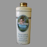 Vintage Talc Tin – Squibb's Nursery Toilet Powder with Baby in Bath Tub